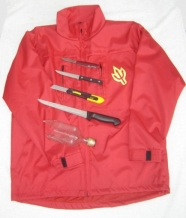 Red cut resistant textiel vest with devils trident